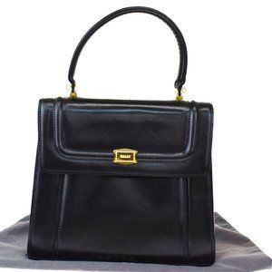 Authentic BALLY Logo Hand Bag Leather Black Gold-P